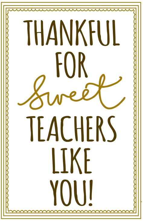 printable thank you quotes thankful for sweetteachers like you free printable for