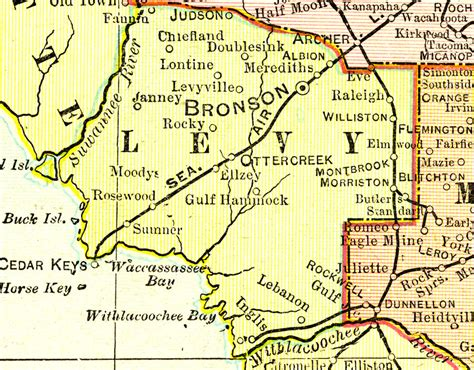 rosewood florida map levy county 1899