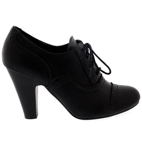 womens brogue work office shoes lace up ankle