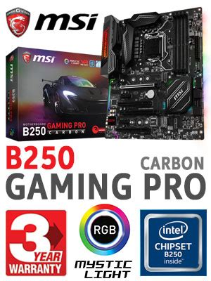 Sale Msi B250 Gaming Pro Carbon Lga1151 B250 Ddr4 msi b250 gaming pro carbon motherboard free shipping south africa