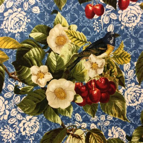 cherry tree quilts rk97 cherry tree with bird blue fruit nature floral quilt cotton quilting fabric