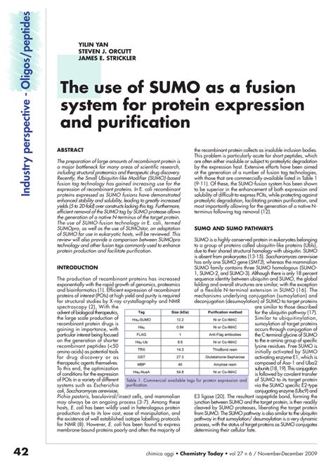 j protein expression purification the use of sumo as a fusion system for protein expression