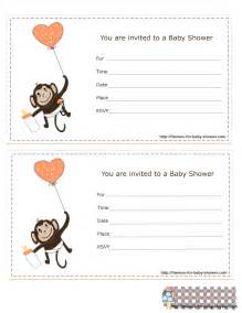 5 free printable monkey baby shower invitations