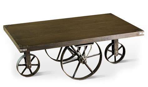 rustic antique merchandise cart wagon wheel coffee table