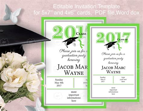 Graduation Party Invitation Template Download Edit Yourself Digital Graduation Announcements Templates