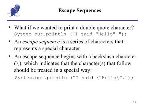 Escape Sequences Quot N T R Java 2 1 data