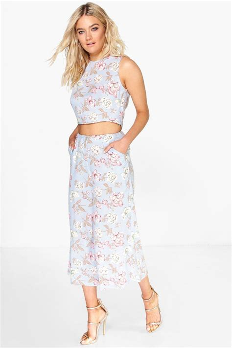 Spike Set Topculottes poppy floral culotte crop top co ord set at boohoo