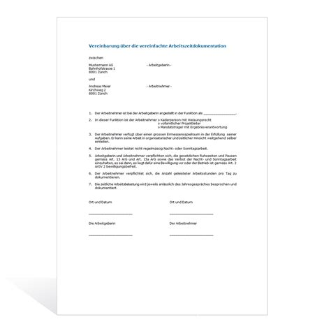 Word Vorlage Vereinbarung Muster Vereinbarung Arbeitszeitdokumentation