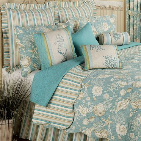 bedding quilts natural shells coastal quilt bedding
