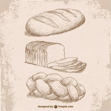 free drawing retro style bread drawings vector free