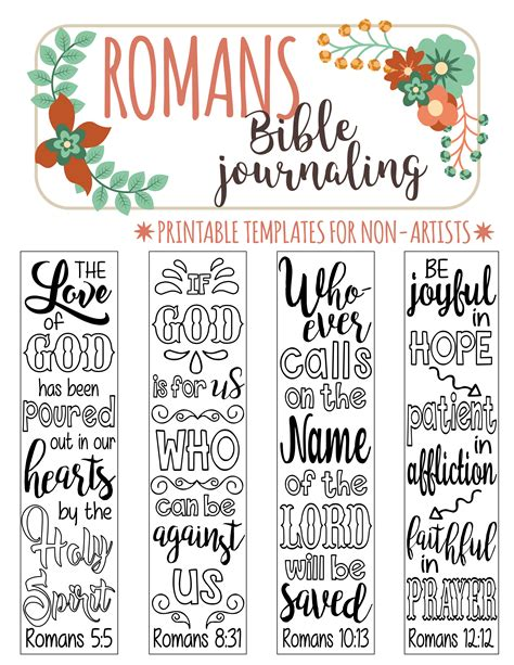 Romans 4 Bible Journaling Printable Templates Illustrated Christian Faith Bookmarks Black Free Bible Journaling Templates