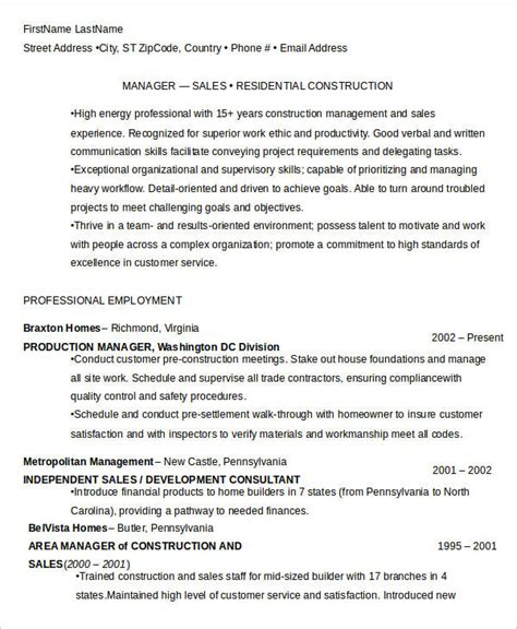 Construction Manager Sle Resume by 40 Free Manager Resume Templates Pdf Doc Free Premium Templates