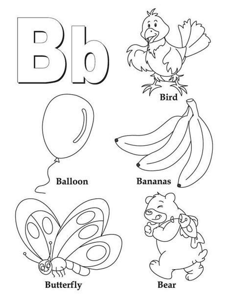 B Coloring Pages letter b coloring pages preschool and kindergarten