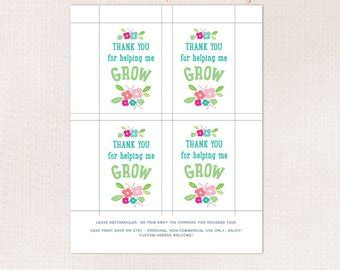 flower pot gift card holder template appreciation tags etsy