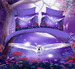 Cheap Cot Bed Duvet Covers 3d Purple Blue Comforter Bedding Set Queen Flying Horse