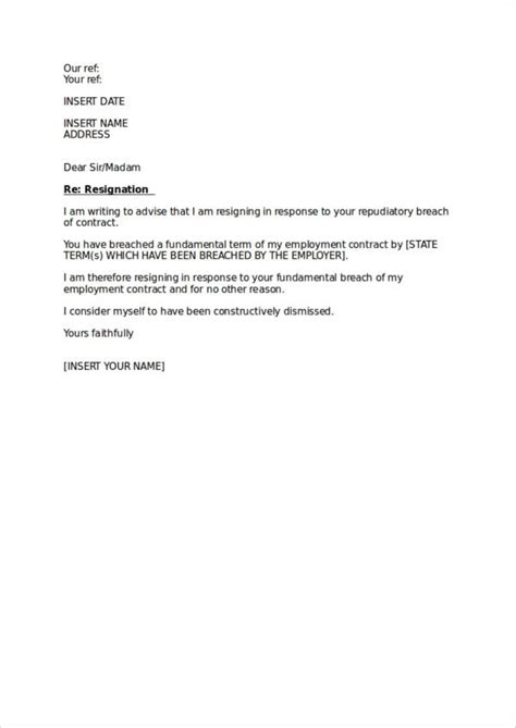 simple resignation letter samples ms word