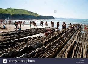 sedimentary rocks known as flysch in itzurun beach zumaia basque stock photo royalty free