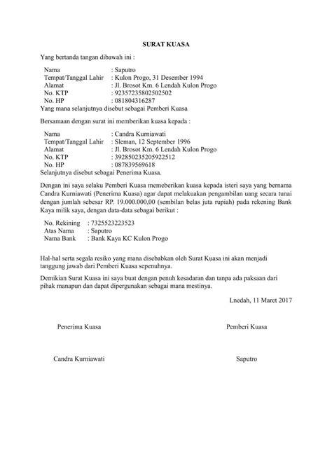 Surat Kuasa Pengambilan Dokumen by Contoh Surat Kuasa Pengambilan Bpkb Ijazah Ataupun