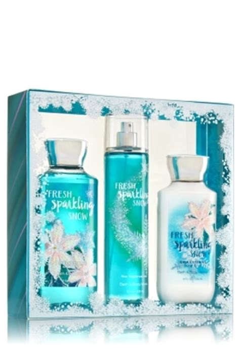 free bath works quot fresh sparkling snow quot 3 pc boxed gift set size with gin