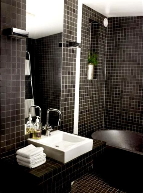 shabby black accents mosaic tiles wall idea for bathroom