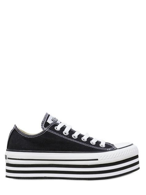 platform sneakers converse converse ox platform canvas sneakers in black lyst