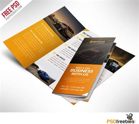 free templates for brochure design psd car dealer and services trifold brochure free psd