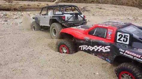 traxxas slash boat trailer traxxas slash and a jeep youtube
