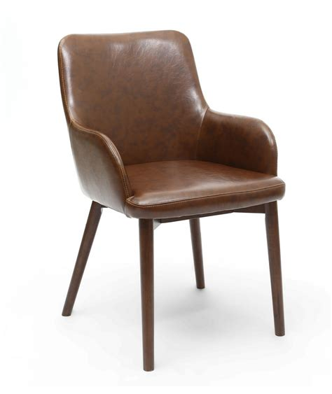 sidcup vintage brown faux leather dining chairs leg