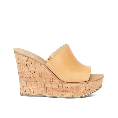 wedge slide sandals c leather cork wedge slide sandal in beige