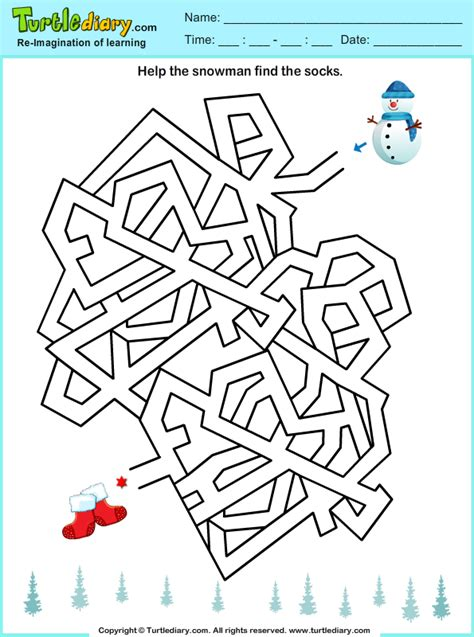 winter maze worksheets find maze worksheet turtle diary