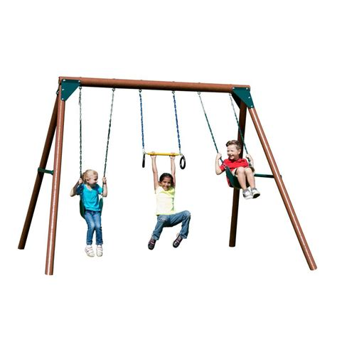 swing n swing n slide playsets orbiter wood complete swing set pb