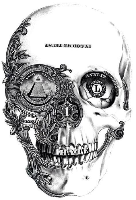 tattoo flash evil money skull arquitetura pinterest skull