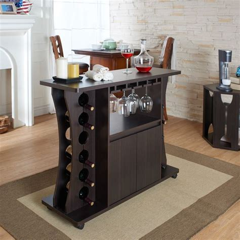 furniture of america tiko modern espresso buffet with wine