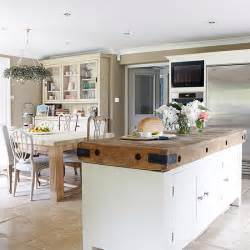 kitchen plan ideas open plan kitchen diner with butcher s block unit open plan kitchen design ideas housetohome