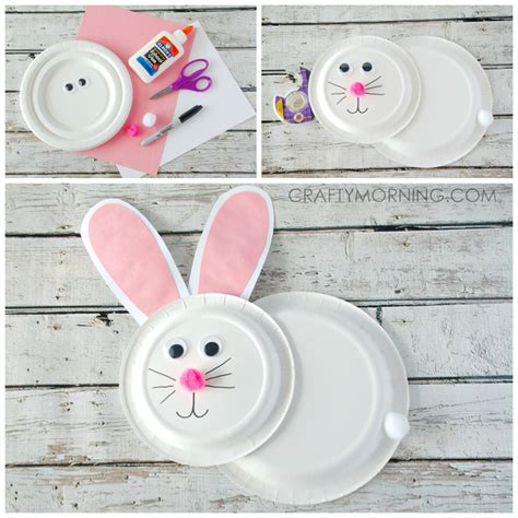 Paper Plate Easter Crafts - paper plate bunny rabbit craft for crafty morning