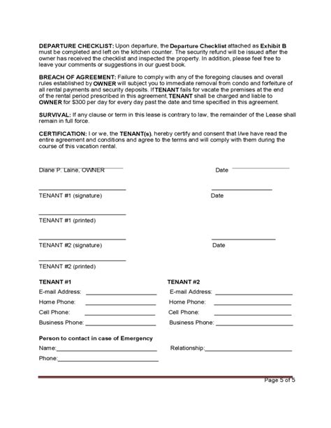 standard vacation rental agreement template