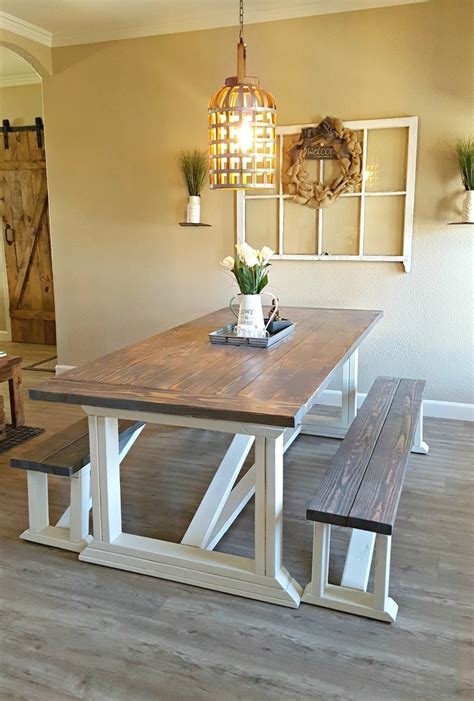 white rekourt dining room table and benches diy