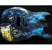 Custom Painted Guitar Grim Reaper Airbrushed USMC — Dallas