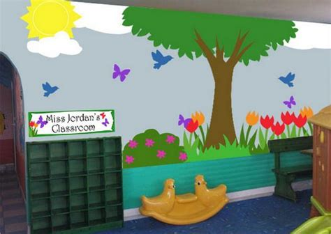 garden decoration for classroom classroom with school landscape murals painting