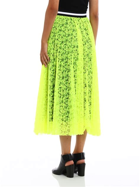 see through fluo lace maxi skirt by m s g m knee length