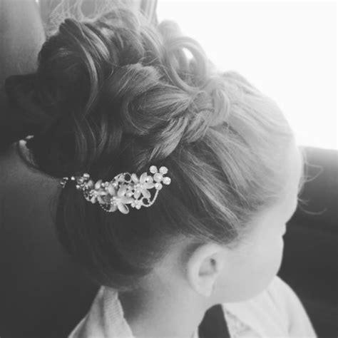 cute hairstyles for first communion little girl high bun braid hairstyle flower girl hair
