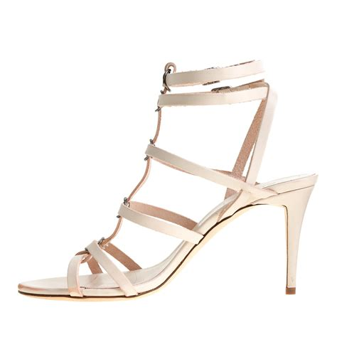 j crew ringed gladiator high heel sandals in white