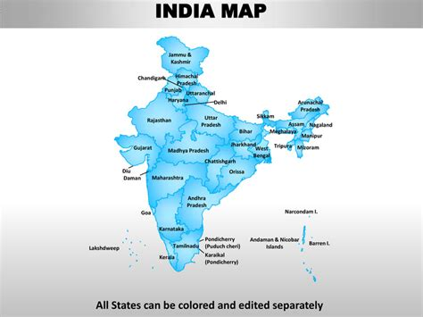 India Country Editable Powerpoint Maps With States And Counties Editable Map Of India