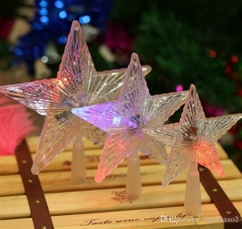 pentacle tree topper pentagram led tree topper light multi color flash button battery powered light