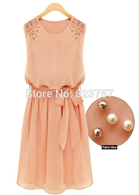Bow Dress Import 2014 new summer sleeveless dresses chiffon pleated bow dress vestidos