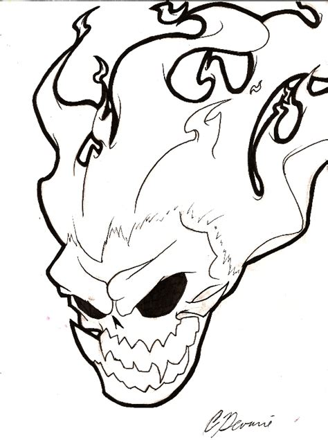flaming skull coloring page firey skull free coloring pages