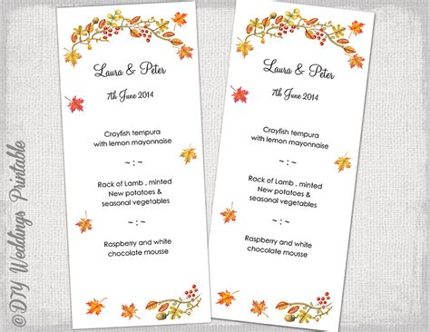 fall menu template printable wedding menu template fall menu diy