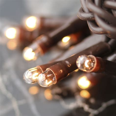 clear bulb and brown cord teeny string lights lighting