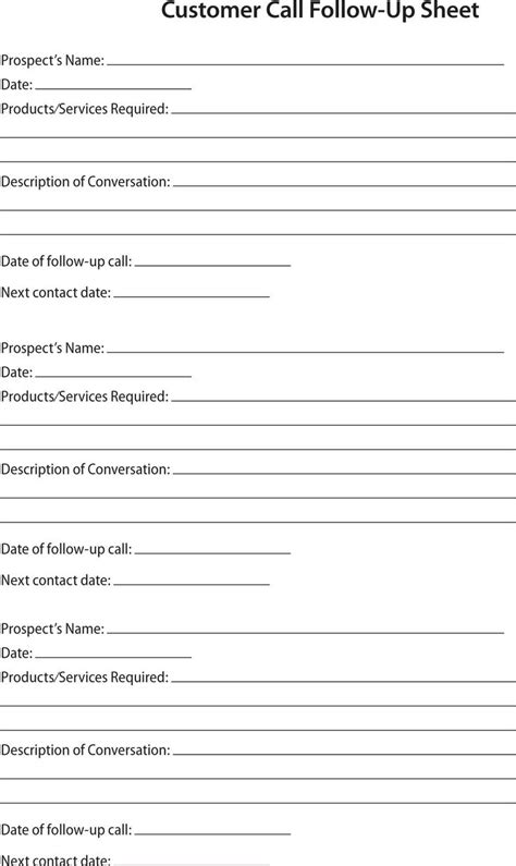 sales follow up template 80 20 prospect sheet customer call follow up call sheet