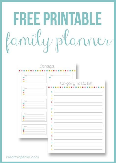 printable planner cards free printable family planner free homeschool deals